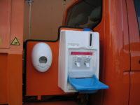 Handwascheinrichtung für Leichtmüllverdichter