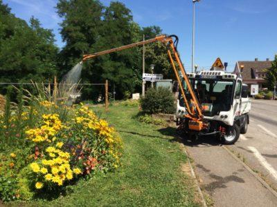 Gießen einer Pflanzanlage vom Fahrerplatz aus mit einem BERTSCHE Gießarm