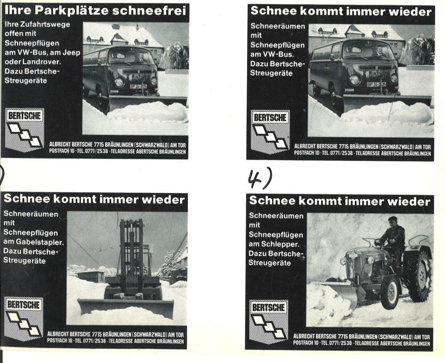 1966 Bertsche Schneepfluganzeigen