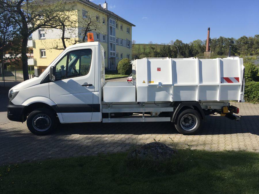 2017: Erster BERTSCHE Leichtmüllverdichter Typ LM 4,5 auf DB Sprinter-Fahrgestell