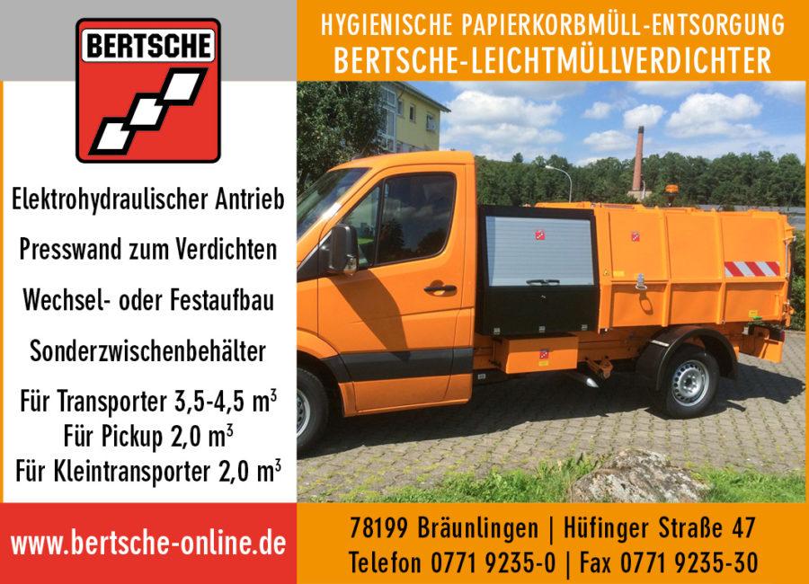 Leichtmüllverdichter; Müllpressaufbau zur Papierkorbentleerung; Kommunaltechnik Bertsche; Kommunalgeräte Bertsche;